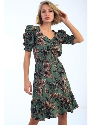 Emjey Balon Kol Ön Büzgülü Eteği Valonlı Elbise Yeşil